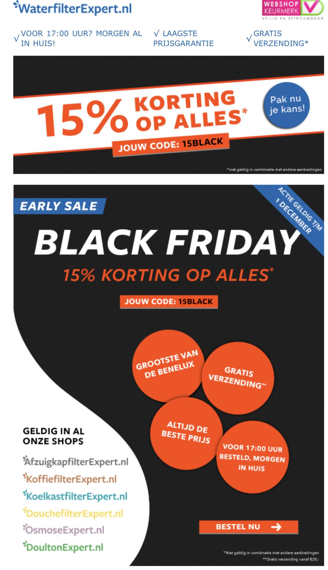 Filterexpert Early Black Friday 15% korting op Alles!