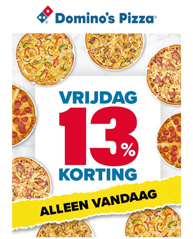 13% Korting op alle pizza's bij Domino's