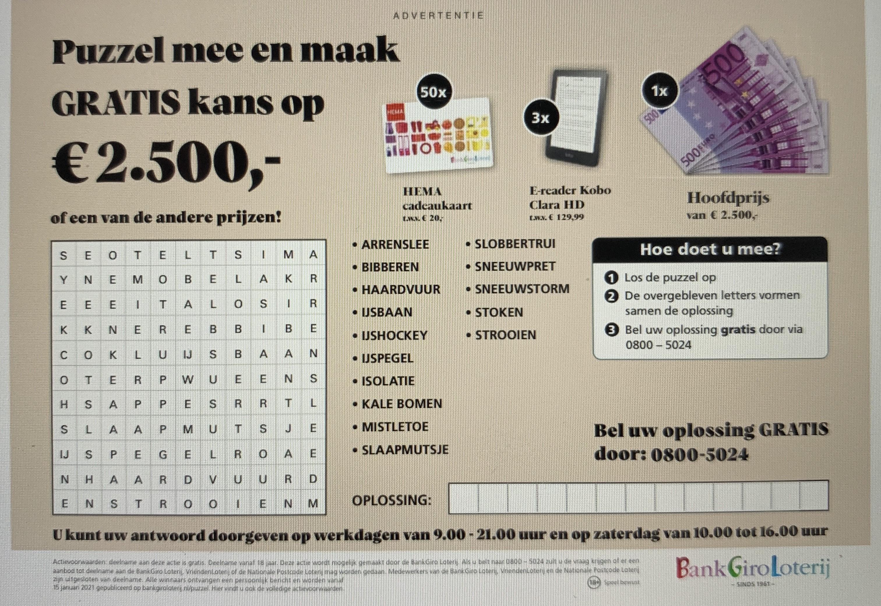 Bankgiroloterij gratis meespelen 3 trekkingen met 2 loten!