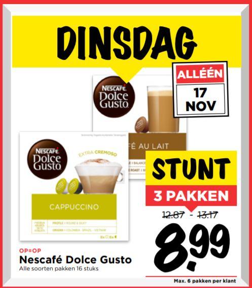 3 pakken Dolce Gusto voor €8,99 alleen 17 november @Vomar