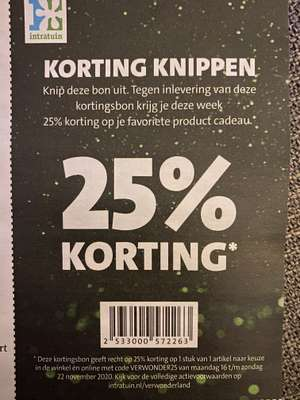 Intratuin 25% korting (16 nov t/m 22 nov)