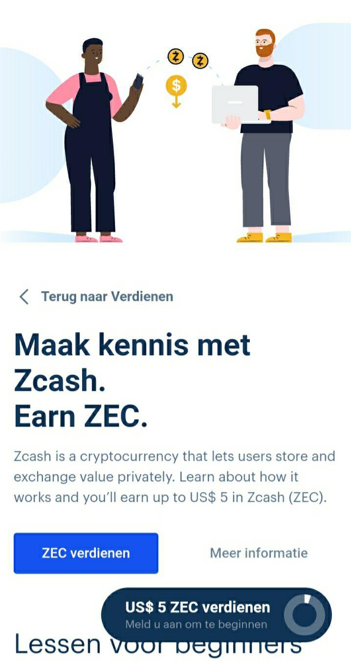 $5,- verdienen met Zcash op Coinbase