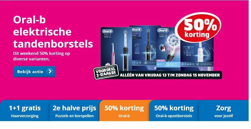 50% korting op Oral B Elektrische tandenborstels dit weekend (@Trekpleister.nl)