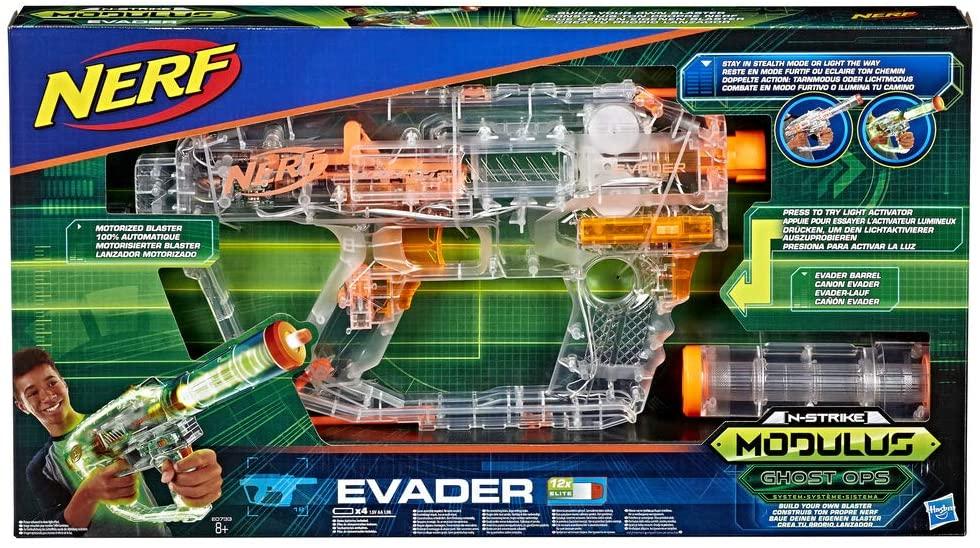 Nerf N-Strike Modulus Shadow Ops Evader transparante speelgoedblaster, met verlichting