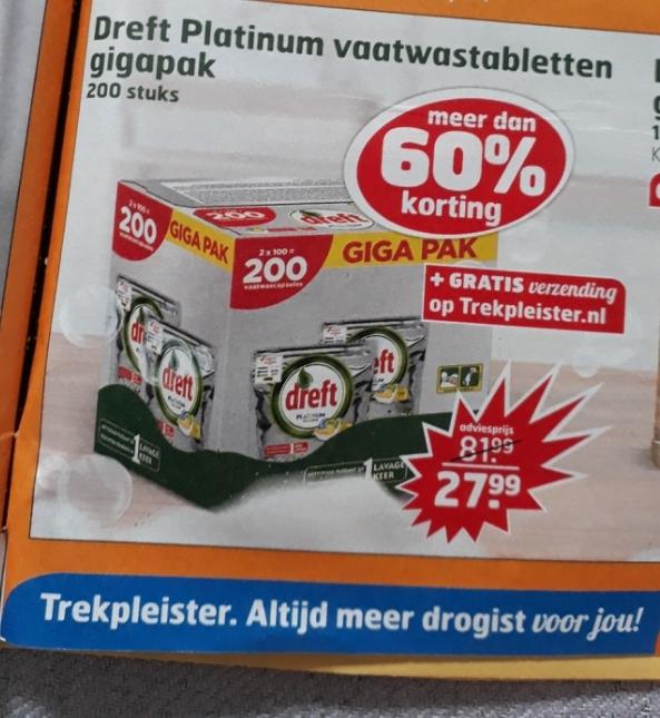 Dreft Platinum vaatwastabletten 200 stuks + gratis verzending (@trekpleister.nl)