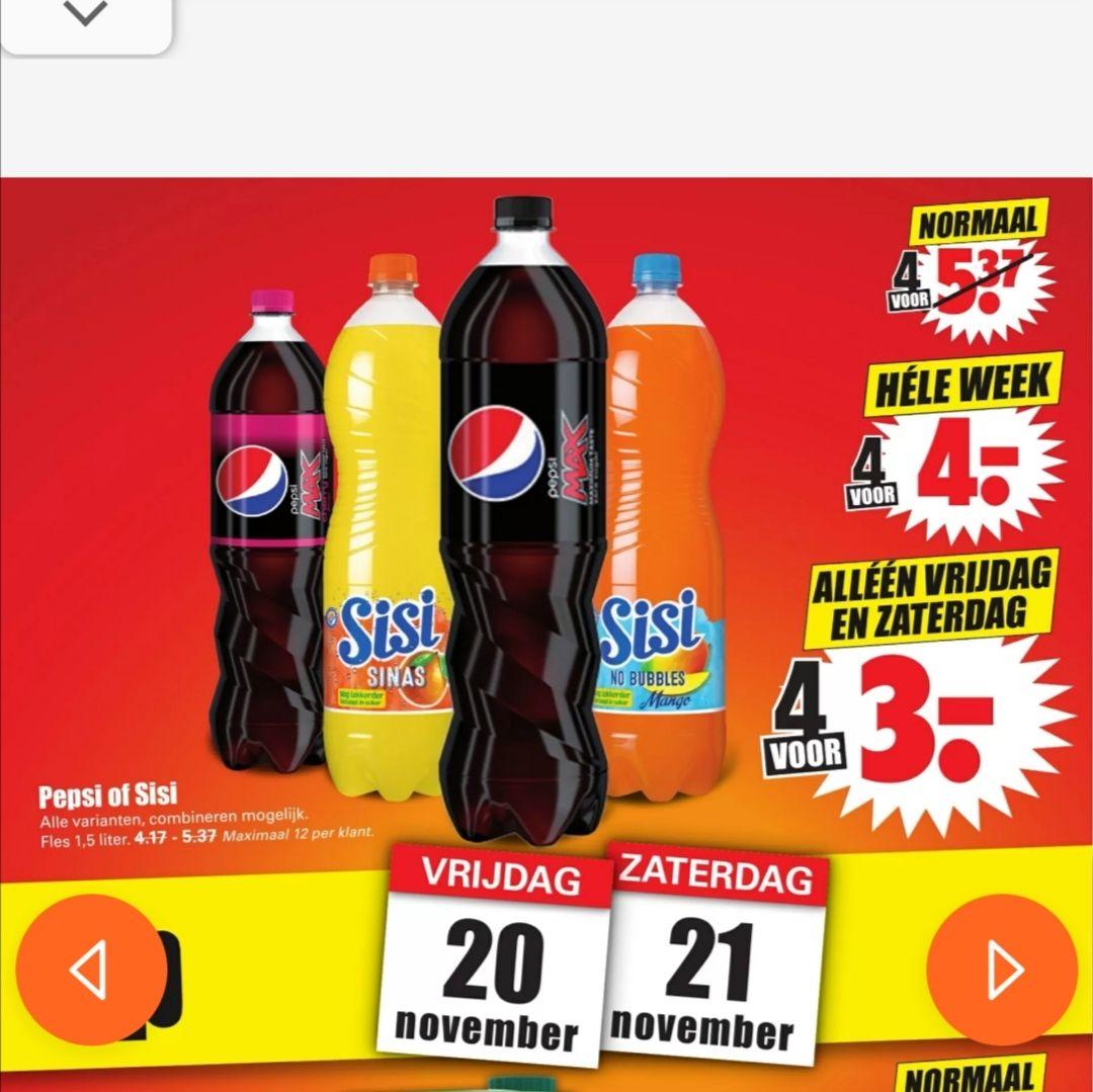 1.5 literflessen Pepsi of Sisi 4 voor €4 of vrijdag + zaterdag 4 voor €3