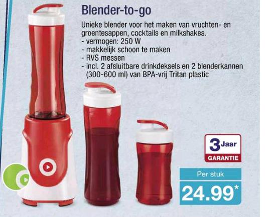 Blender-to-go + 2 flessen en 3 jr garantie @Aldi