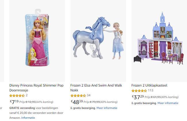 TOT (en soms zelfs meer dan) 25% Korting op geselecteerde Disney Princess & Frozen Producten