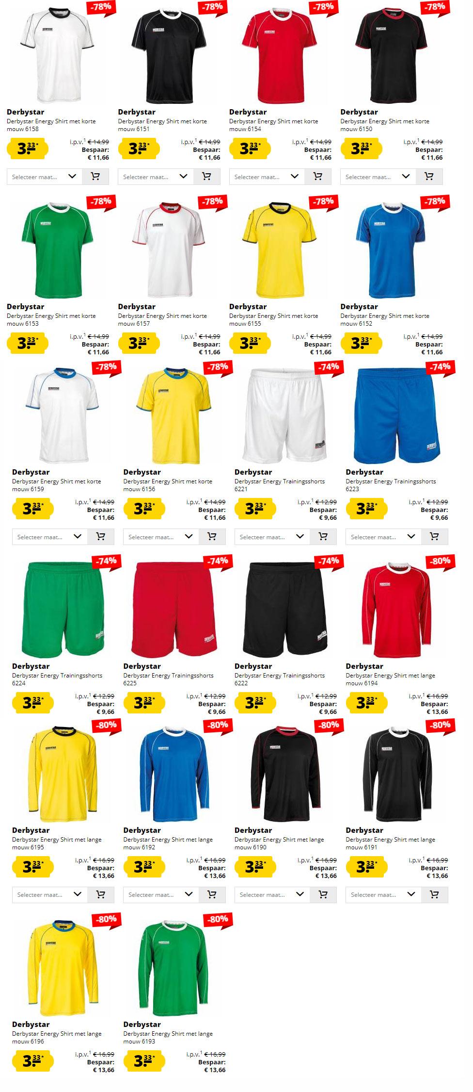 Sportkleding Derbystar sr // jr - alles €3,33 p.s. @ Sport-Korting