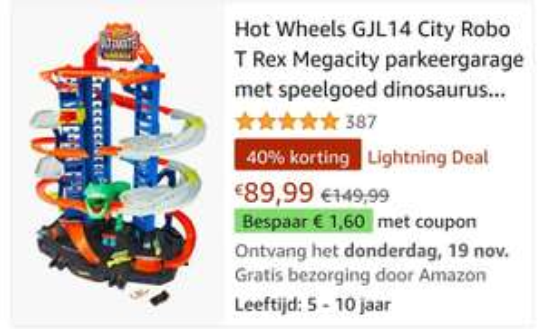 Hot Wheels GJL14 Ultimate garage T-Rex (LIGHTNING DEAL)