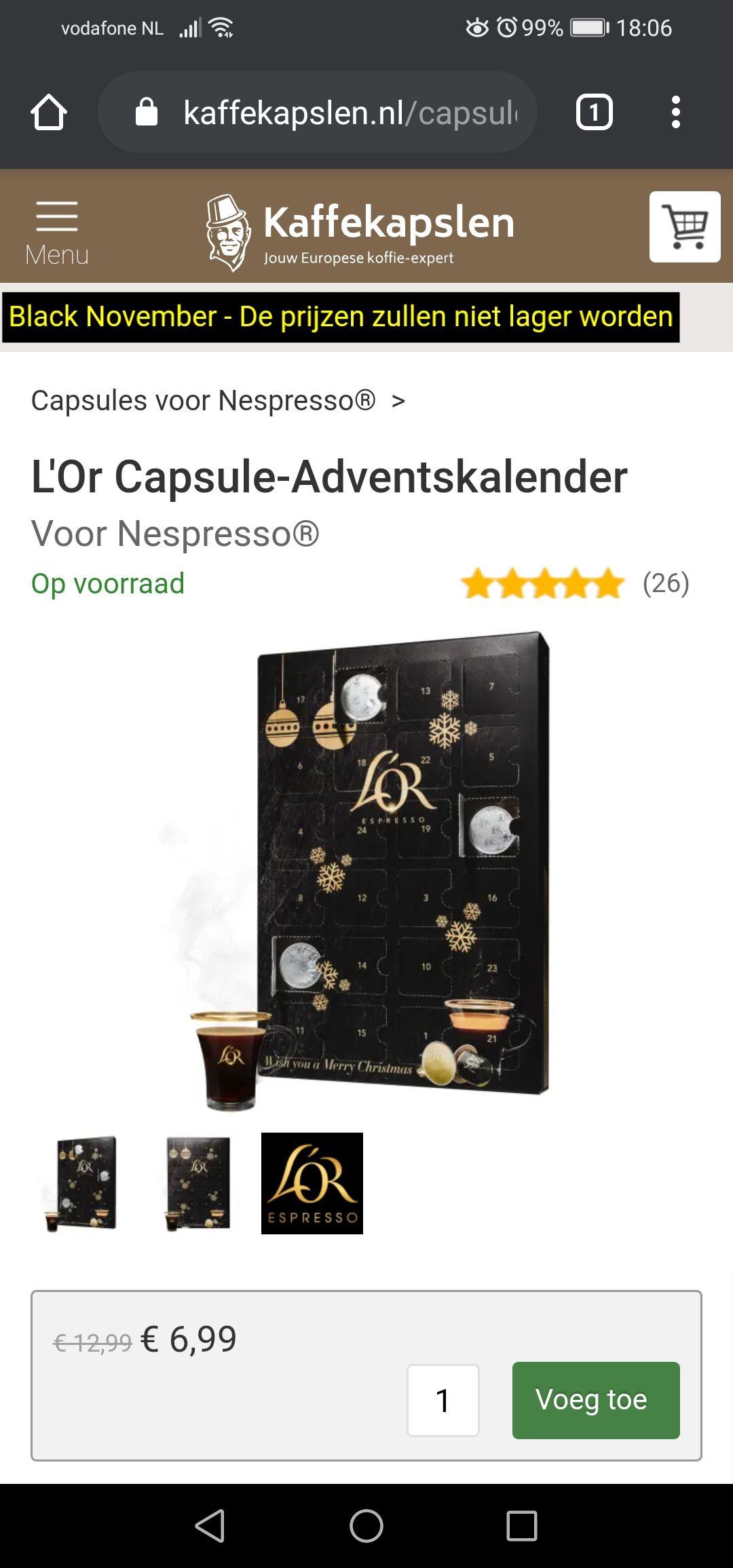 UPDATE 13 DECEMBER 2020: niet op voorraad L'Or Capsule-Adventskalender
