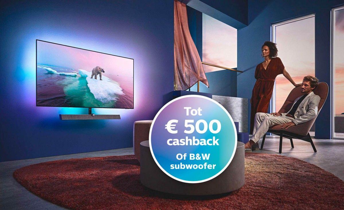 Een gratis B&W subwoofer of tot €500 retour bij diverse nieuwe Philips TV's
