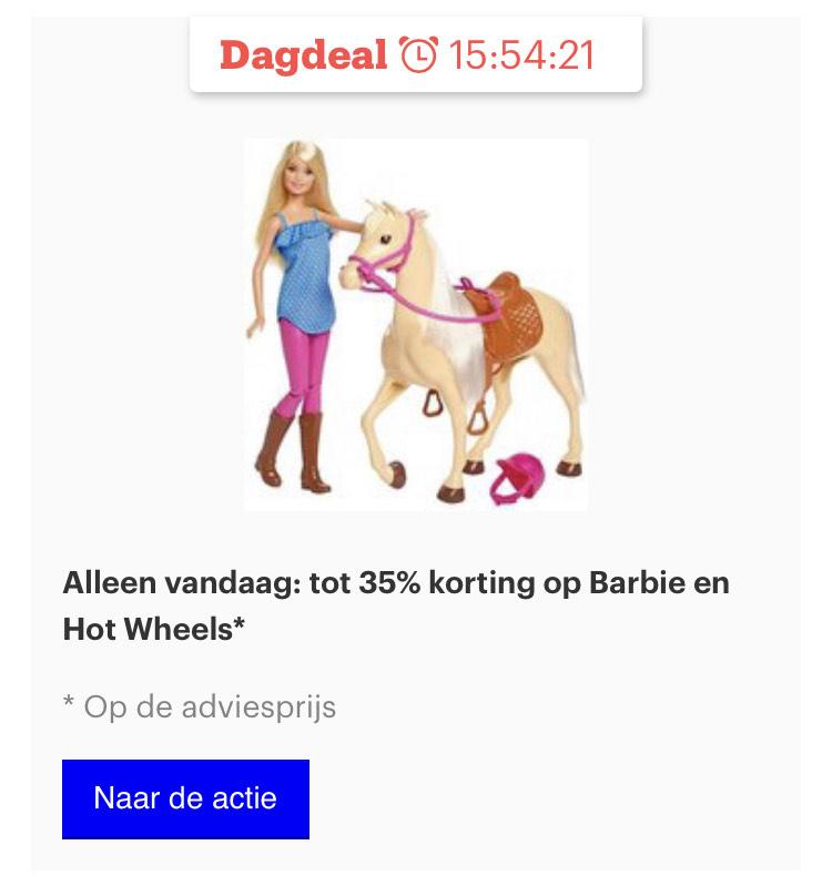 Vandaag tot 35% korting op de adviesprijs van Barbie en Hotwheels @ Bol.com