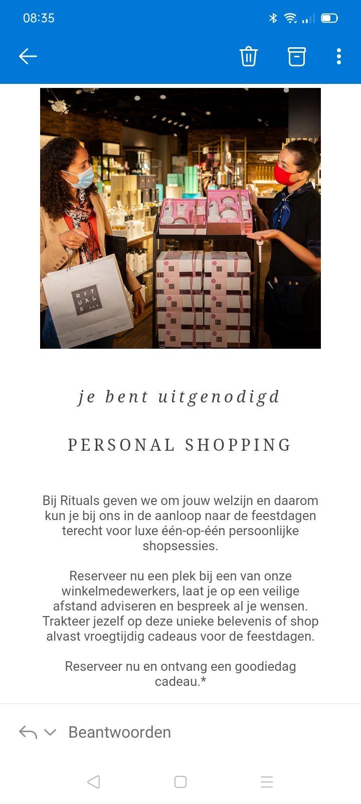 Rituals personal shopping met gratis goodiebag. Alleen voor members.