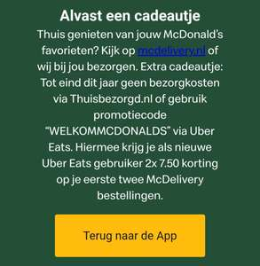 2x €7,50 kortingscode op MCDelivery bestelling @ UberEats