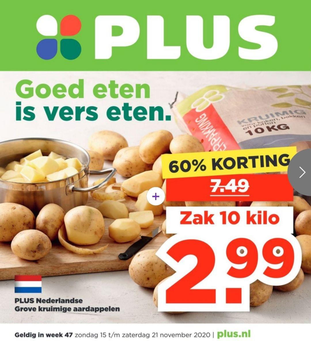 10 kilo aardappelen bij Plus voor €2,99