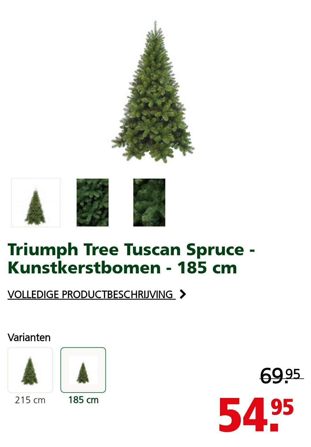 Triumph Tree Tuscan Spruce - Kunstkerstbomen insteek constructie 185 cm
