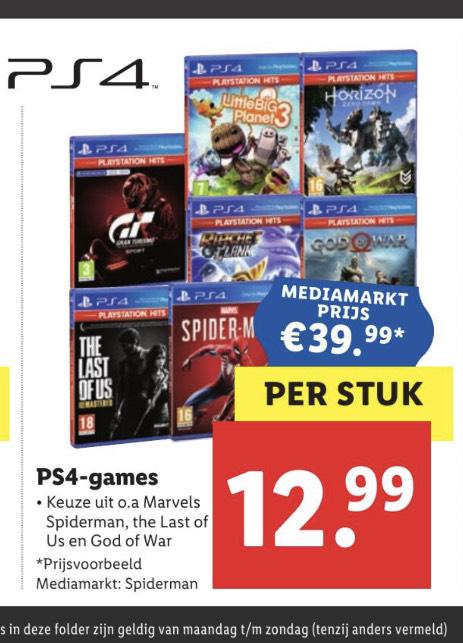 Diverse Playstation 4 games bij Lidl voor €12,99