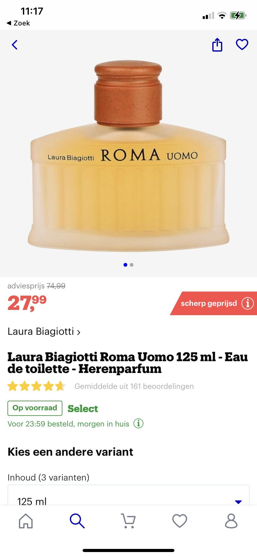 Laura Biagiotti Roma Uomo 125 ml parfum €27,99 @Bol.com