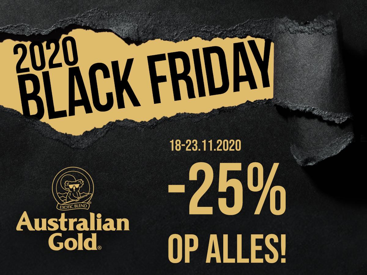 25% Black Friday Korting van Australian Gold! Op alle zonnebank en zonnebrand producten!!