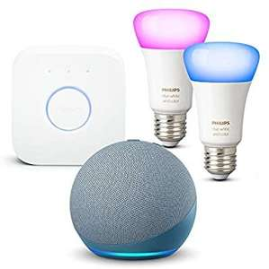 [grensdeal] Echo Dot (4e generatie) met Philips Hue E27 Color starter set 2-pack