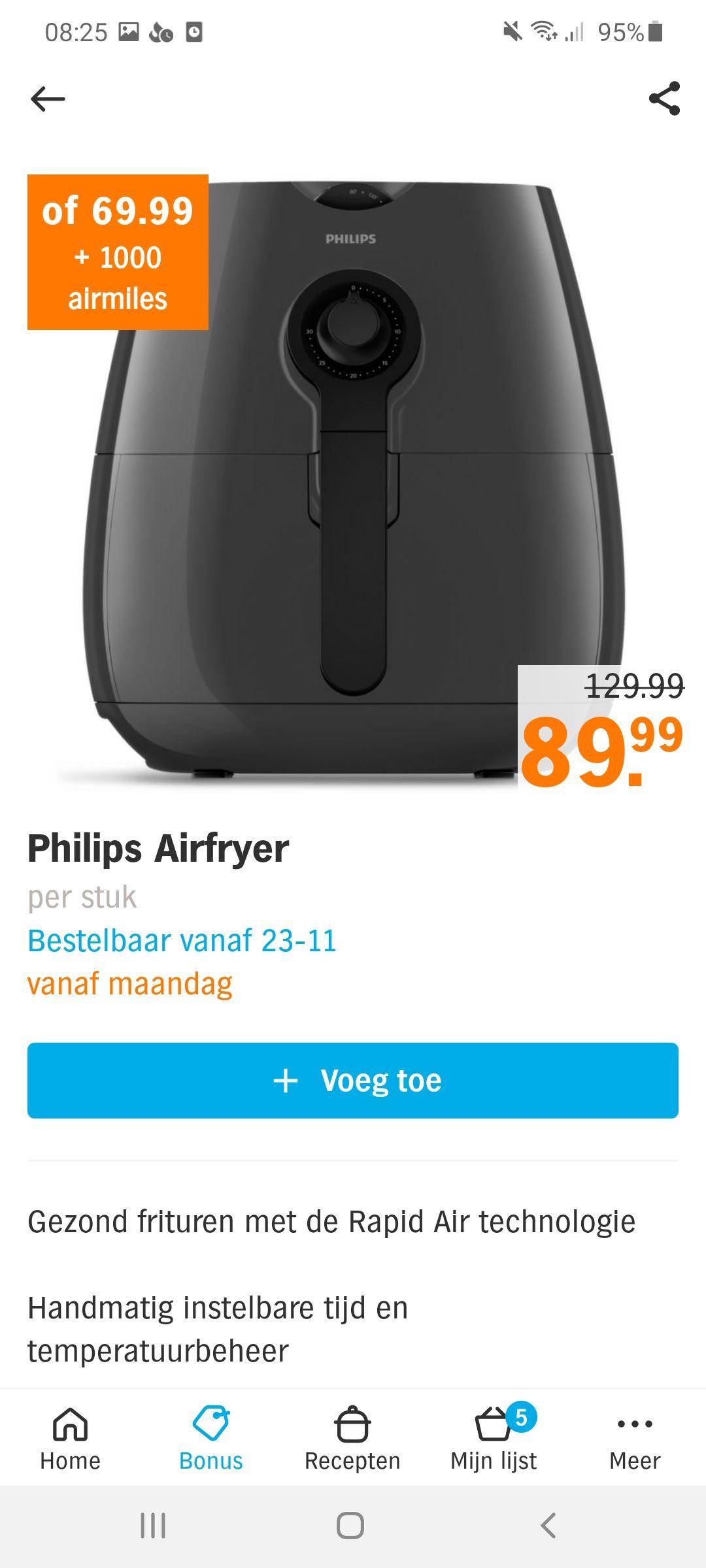 Philips Airfryer + €10 Kwekkenboom - AH Blackfriday
