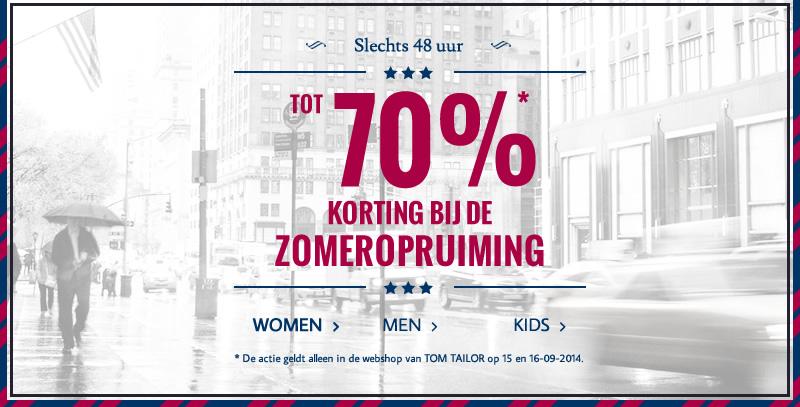Sale met kortingen tot 70% + 10% extra korting @ Tom Tailor