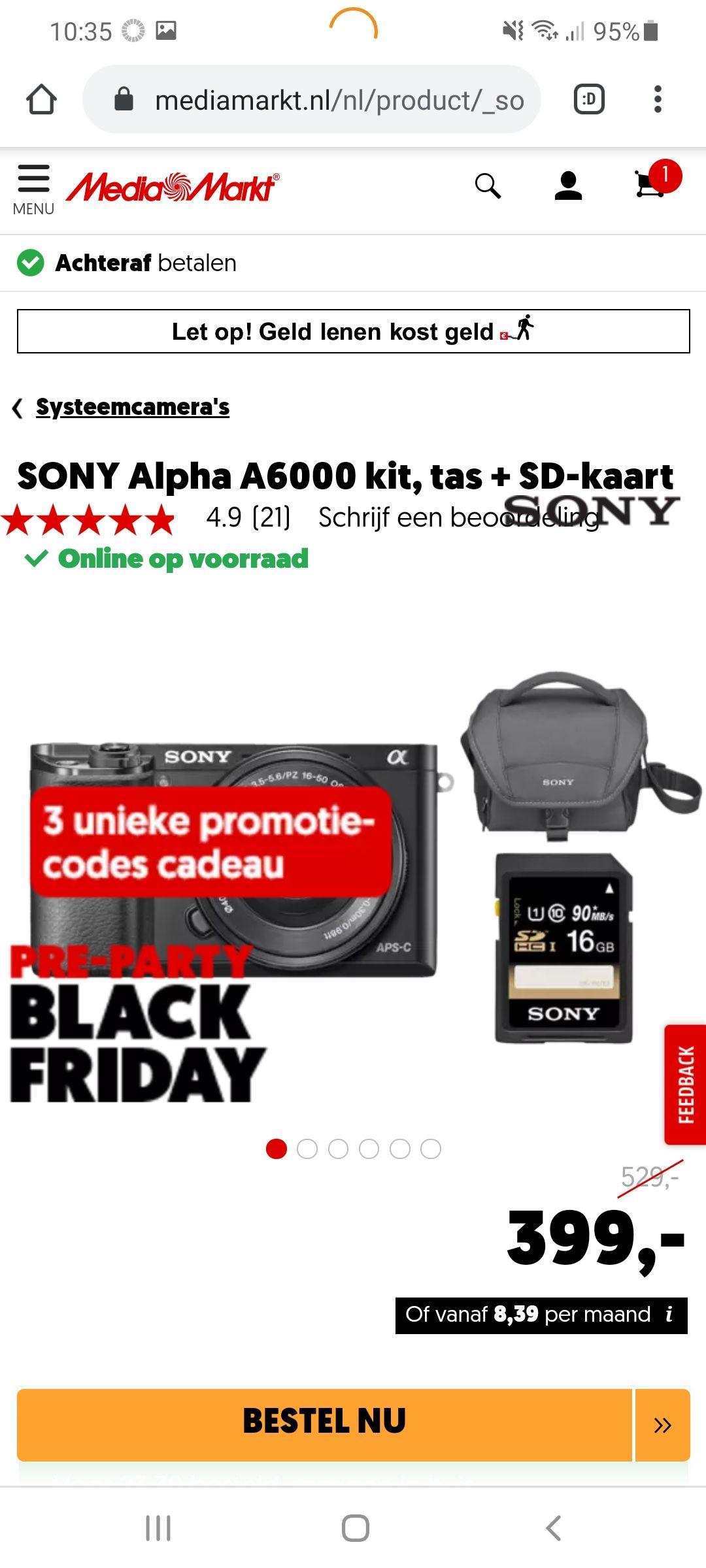 Sony a6000 kit + tas + SD kaart + Promotiecodes