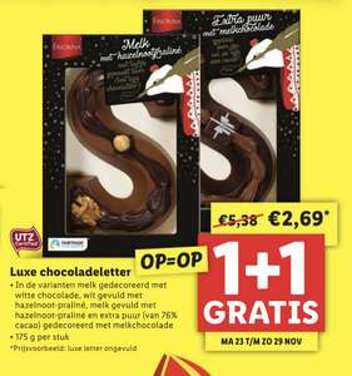 1 + 1 gratis op alle chocolade letters @Lidl