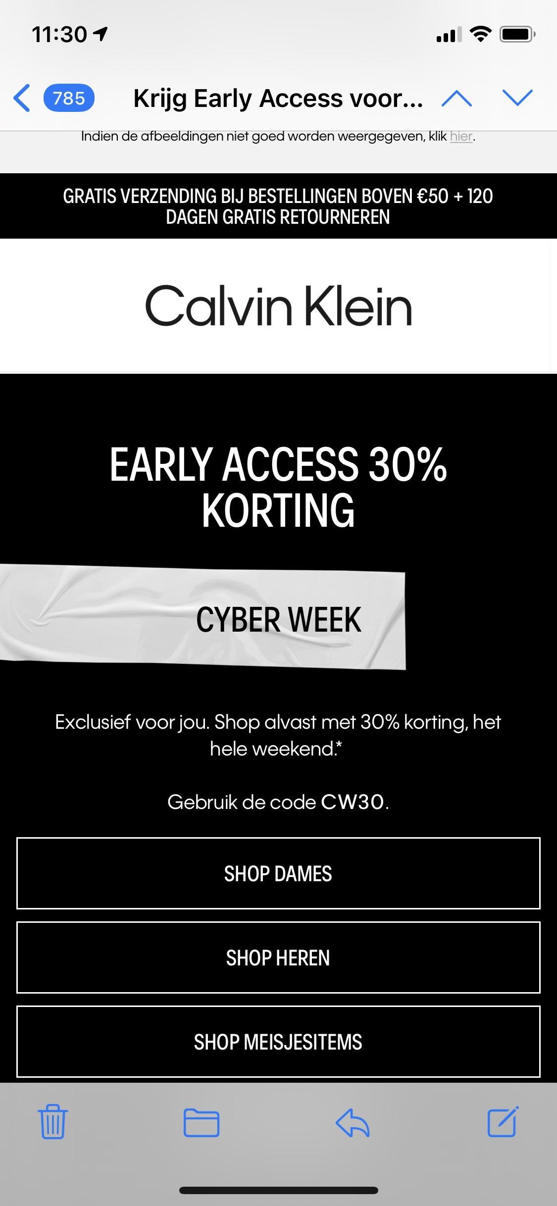 Early acces Calvin Klein Cyber Week 30% korting