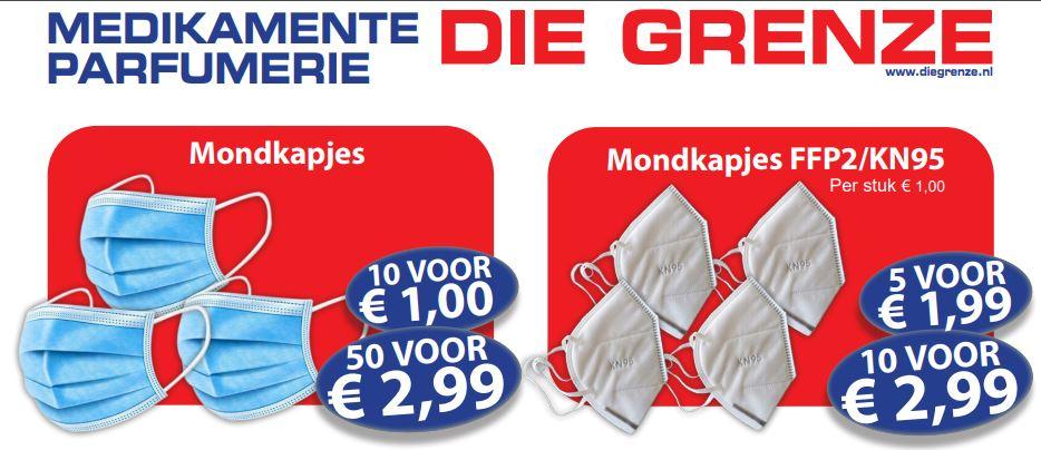 50 mondkapjes €2,99 @ Die Grenze