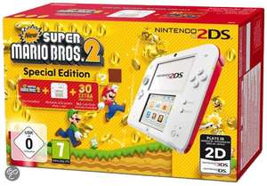 Nintendo 2DS (wit/rood) + New Super Mario Bros 2 voor €114,99 @ Bol.com