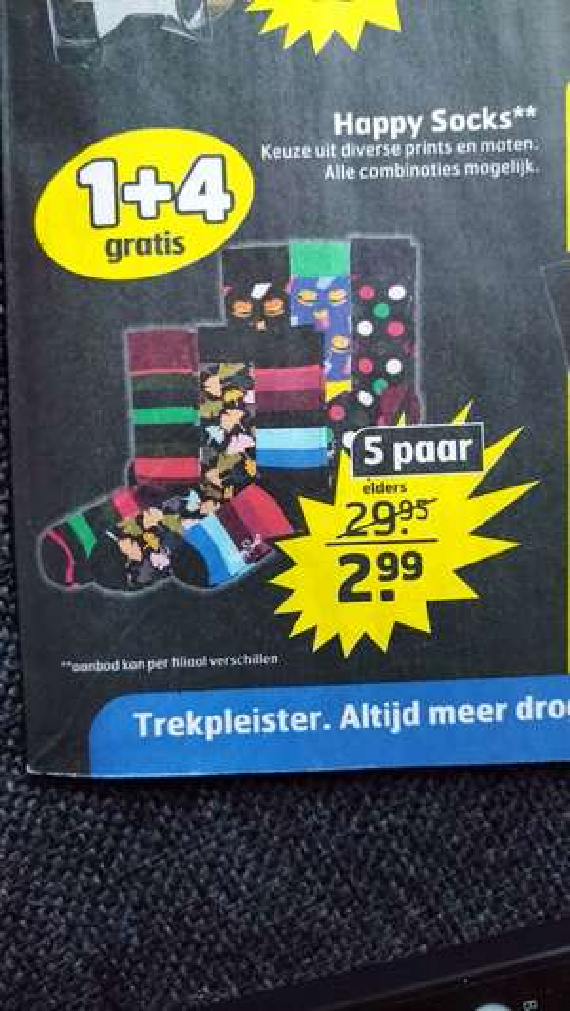Happy socks 5 paar voor €2,99 @trekpleister