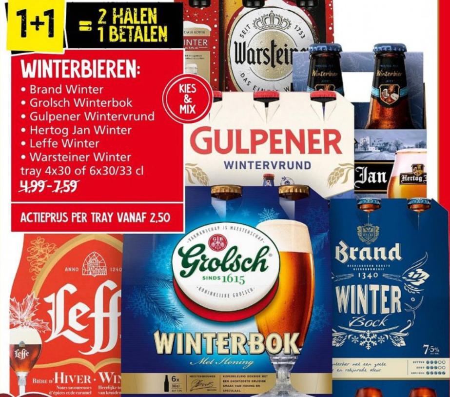 1+1 gratis Winterbieren Leffe, Grolsch, Brand, Gulpener, Hertog Jan en Warsteiner kies en mix Jan linders