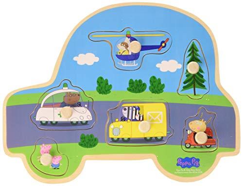Peppa Pig Houten puzzel met knoppen - Transport @ Amazon.de