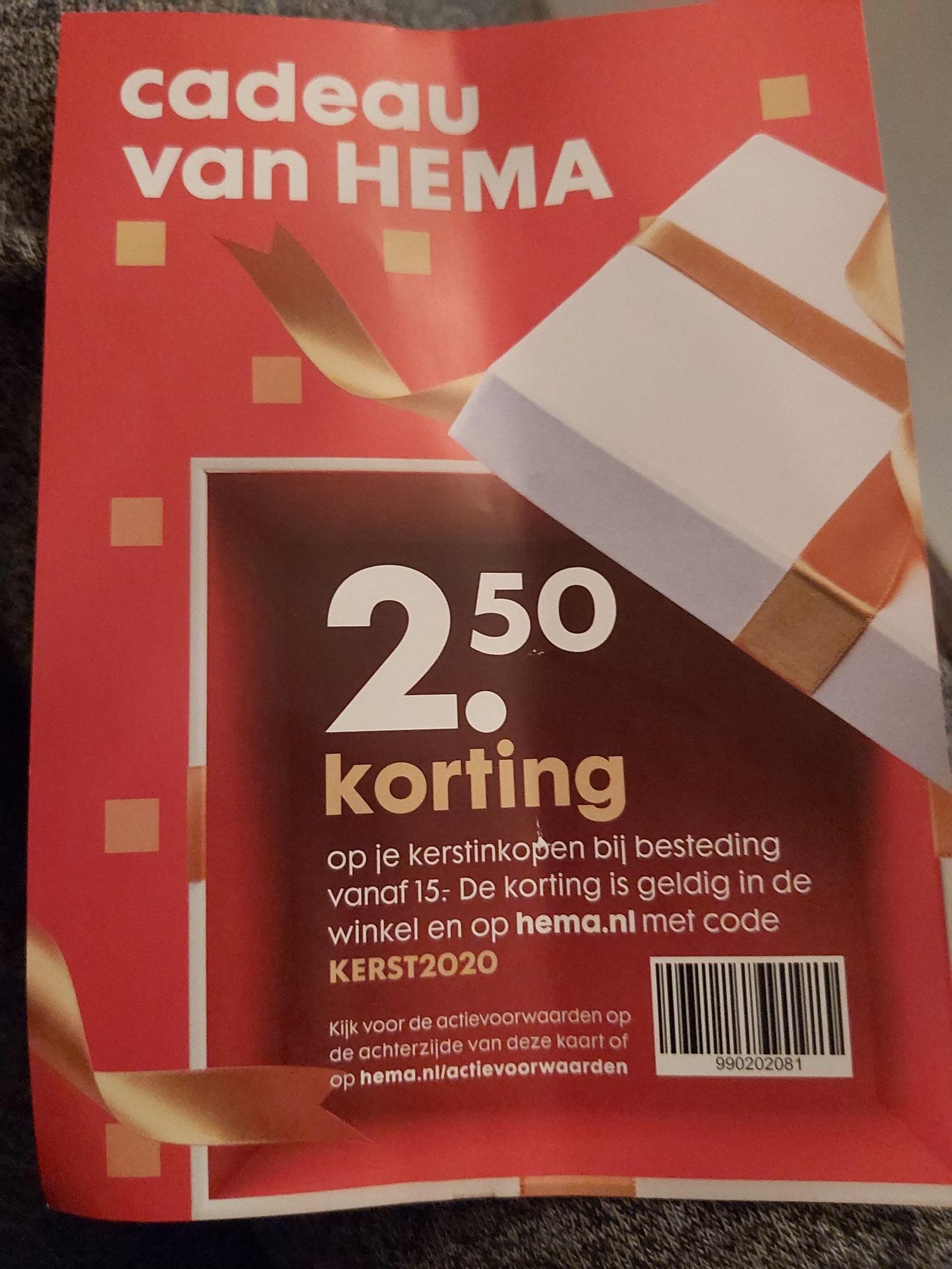 2,50 euro korting bij minimale besteding van 15 euro bij Hema