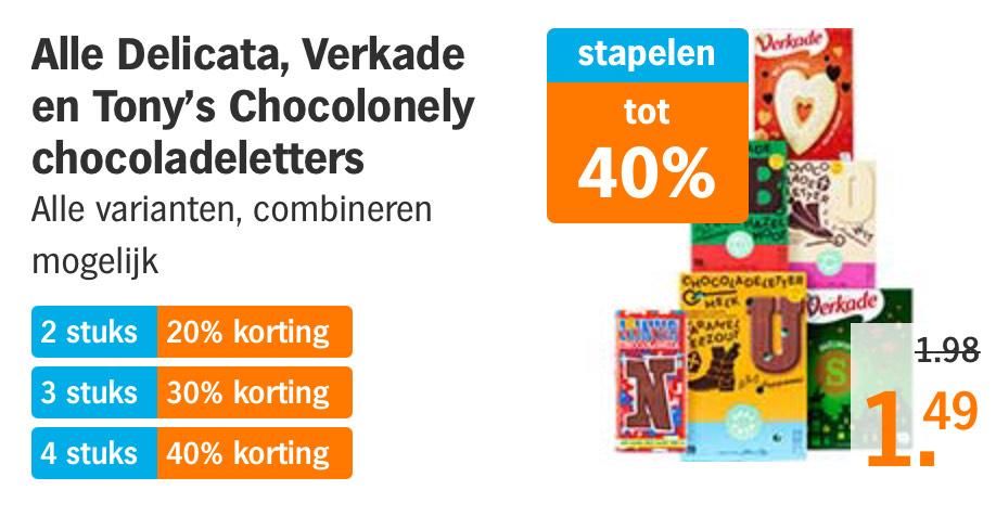 AH: Chocoladeletters korting stapelen. Bv Tony Chocolonely 180gr vanaf 1,79€ per stuk (dus tot Max 40%)
