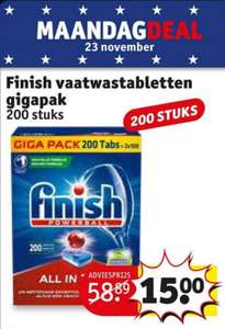 MaandagDeal 23 november Kruidvat Finish vaatwastabletten powerball All in 1 Max 200 stuks
