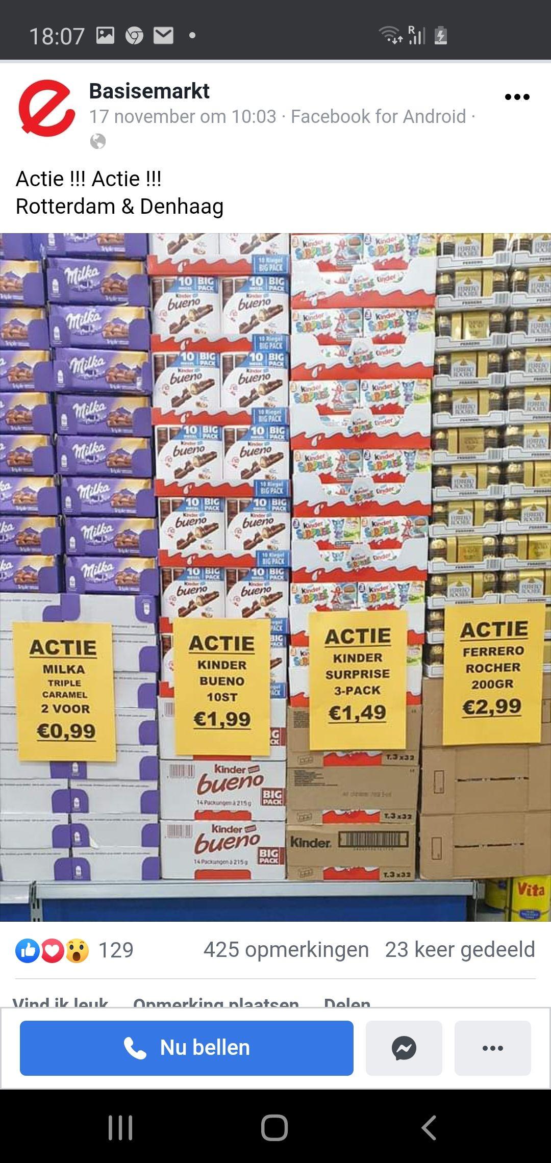 [Lokaal Den Haag/Rotterdam] 10st Kinder Bueno €1.99 @ Basis E Markt