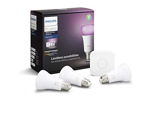 Philips Hue White & Colour Ambiance Starter Kit: Smart Bulb 3x Pack LED [E27] and Bridge