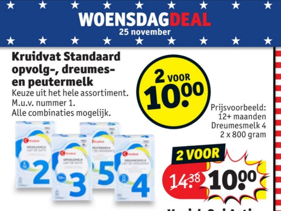 Woensdagdeal: Kruidvat opvolg-, peuter-, en dreumesmelk 2 voor € 10