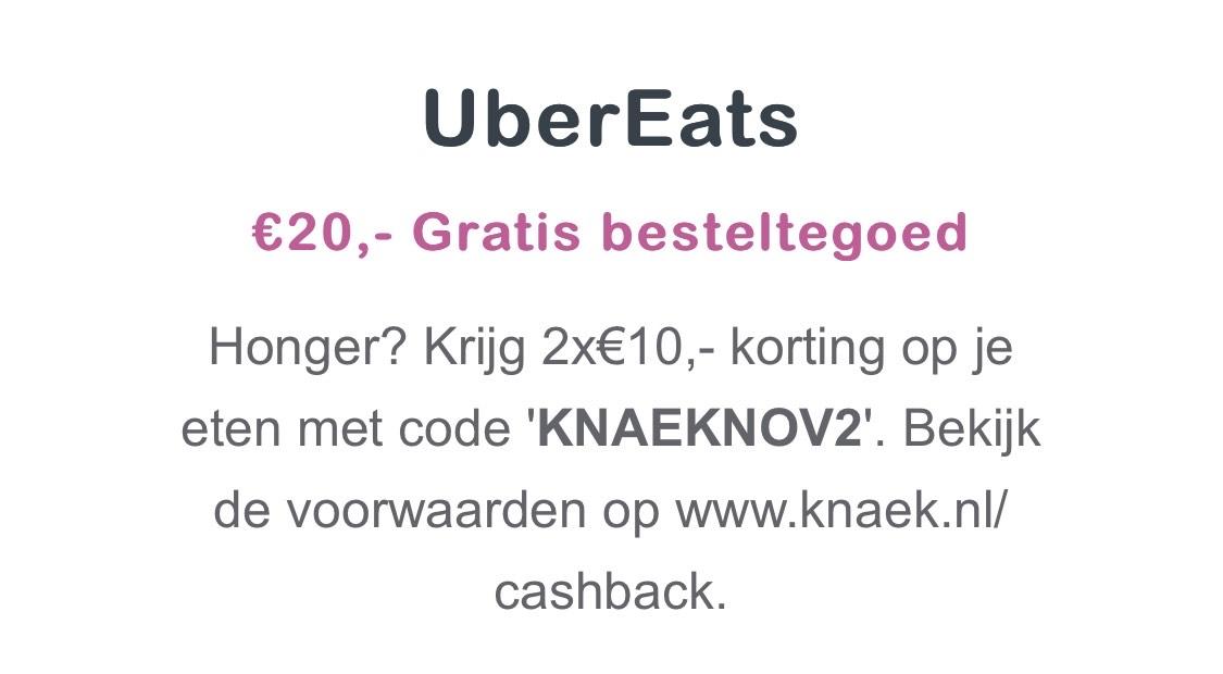 2x €10 Korting UberEats