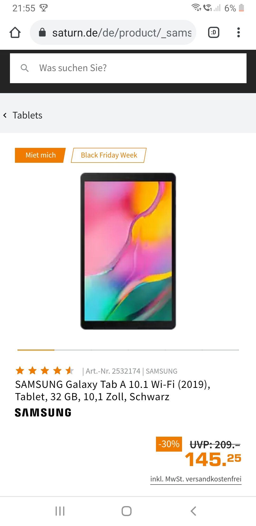 Grensdeal Saturn en Mediamarkt SAMSUNG Galaxy Tab A 10.1 Wi-Fi (2019), Tablet, 32 GB, 10,1 Zoll, Schwarz