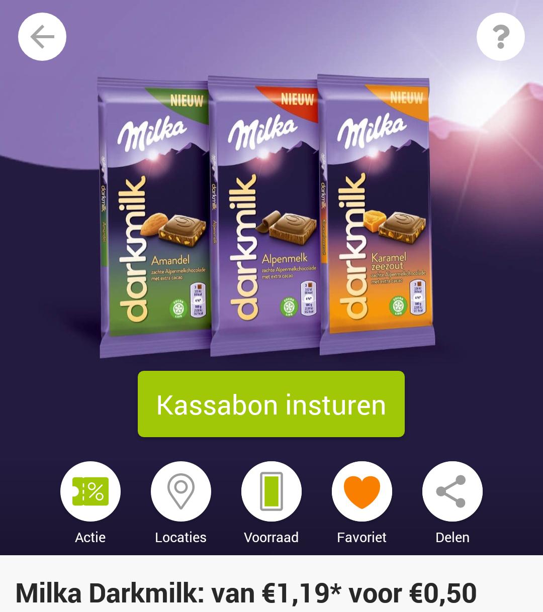 Probeer Milka Dark Milk voor €0,50 via Scoupy