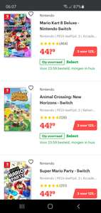 3 Nintendo switch games voor 125 euro