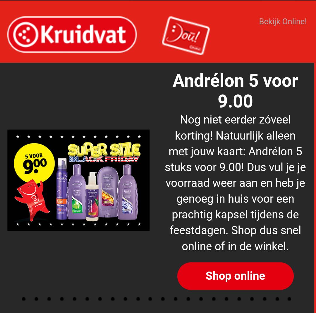Andrélon: 5 stuks voor €9 @Kruidvat