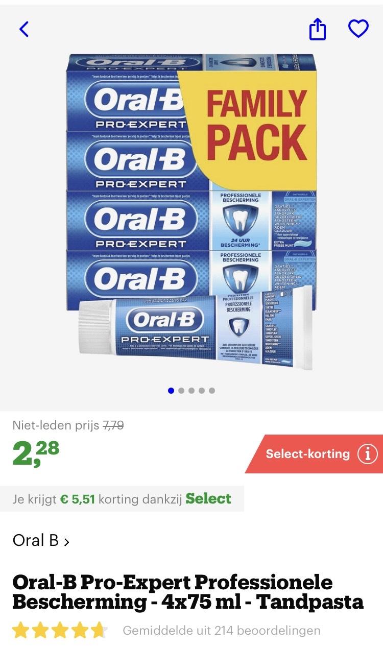 [select deal bol.com] prijsfout?! Oral-B Pro-Expert Professionele Bescherming - 4x75 ml - Tandpasta