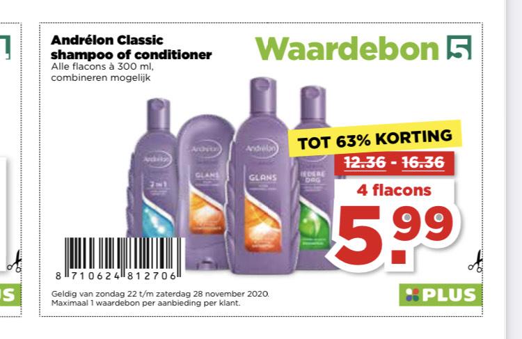 Plus: Andrélon Classic shampoo of conditioner 4 flacons voor €5,99