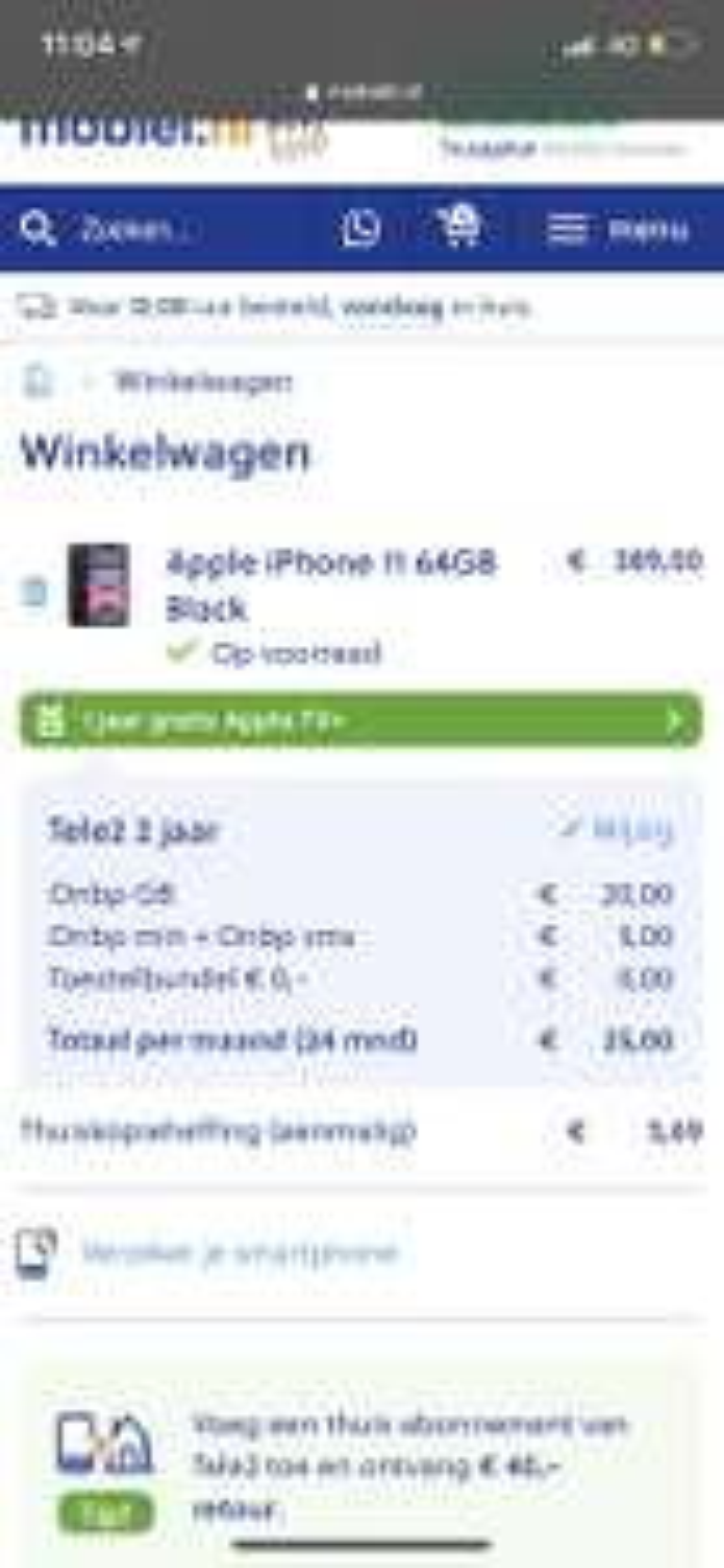 iPhone 11 64GB in combinatie met Abo (Tele2)