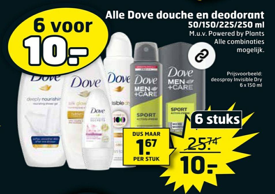 Dove deo en douchegel 6 voor 10€